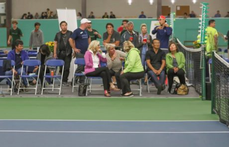Spectators watch Tennis at Mayfair East